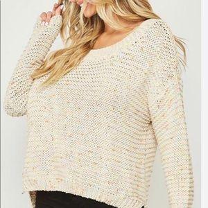 Peach love confetti knit sweater